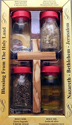 Holy Land souvenir 4 bottle set with a handmade Olivewood cross. All include Holy Earth from Jerusalem, Holy Olive Oil from Bethlehem, Holy Water from the Jordan River and Incense from the Holyland