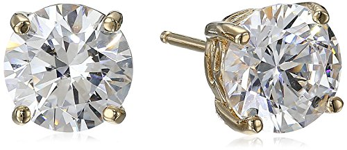 Yellow Gold Plated Sterling Silver Stud Earrings set with Round Cut Swarovski Zirconia (4 cttw)