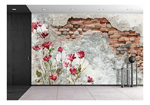 wall26 - Brick Wall with Flower Painting on It - Removable Wall Mural | Self-Adhesive Large Wallpaper - 100x144 inches
