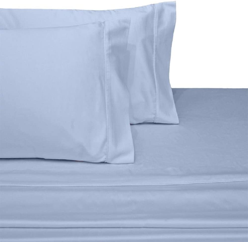 1000TC Egyptian Cotton SPLIT King//Queen//Calking  SHEET SET Light Blue