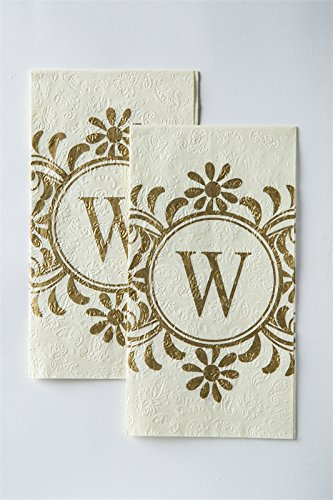 - Cypress Home Evergreen,Embossed Monogram Guest Napkin, W