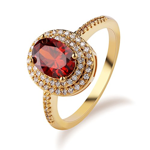 GULICX Jewelry Vintage Style Women Red Rings Gold Tone Cubic Zirconia Inlayed Rings Size 7,8,9,10