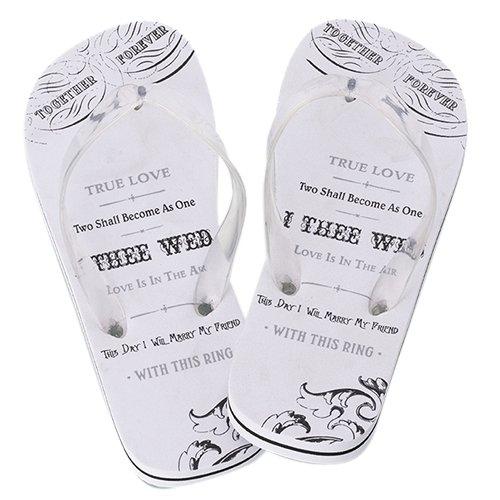 Lillian Rose Women Medium 7-8 Just Married Imprint Honeymoon Flip (Just Married Wedding Flip Flops)