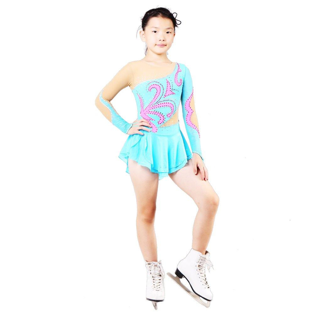 YOOJIA Junior Kids Girls Sparkle High Turtle Neck Ballet Ice Skating Ruffled Leotard Gym Dance wear Dancing Outfit