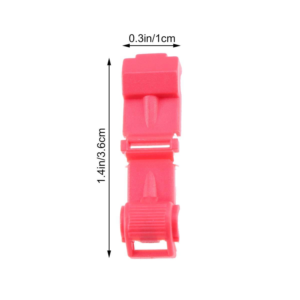 OUNONA 10PCS Scatole di derivazione Capicorda Connettore filo libero Morsetto non distruttivo Morsetto T1 Morsetto Connettore a forma di T rosso