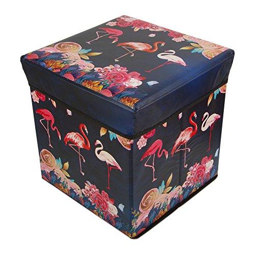 (Tesuivre Flamingo Folding Storage Ottoman Foot Rest Stool Storage Chest Padded Seat Children Toy Storage)