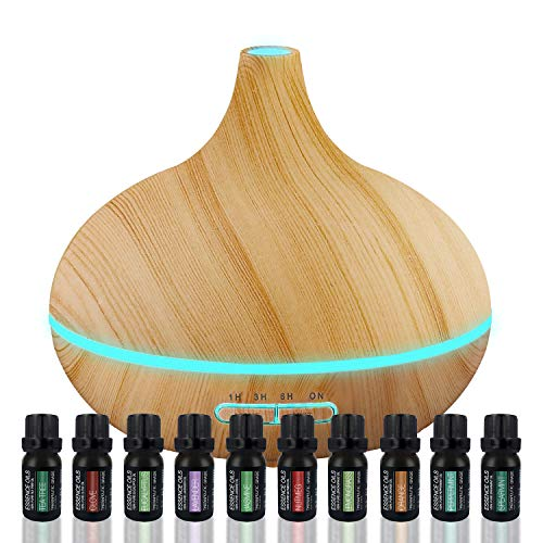 Set Ratio - Ultimate Aromatherapy Diffuser & Essential Oil Set - Ultrasonic Diffuser & Top 10 Essential Oils - 300ml Diffuser with 4 Timer & 7 Ambient Light Settings - Therapeutic Grade Essential Oils - Lavender