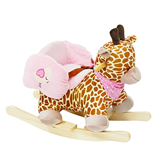 Kinbor Baby Kids Toy Plush Rocking Horse Little Giraffe Theme Style Riding Rocker with Sound, Seat belts (Sound Rocking Plush With Horse)