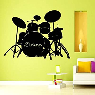 Wall Decor Vinyl Decal Sticker Custom Boy Personalized Name Music Drums  Living Room Home Interior Design A573