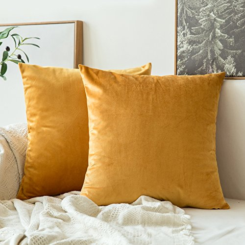 Mustard House - MIULEE Pack of 2, Velvet Soft Soild Decorative Square Throw Pillow Covers Set Cushion Case for Sofa Bedroom Car18 x 18 Inch 45 x 45 cm