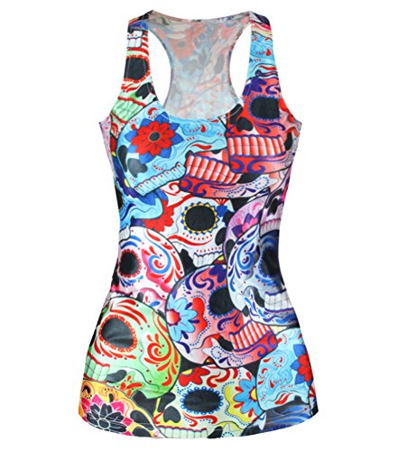 Costume Skull Candy (Zanuce Fashion Women Candy Skull Printed Sleeveless T Shirt Vest Tank)