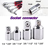 "AUAUDATE NEW Socket Ratchet Wrench Converter Reducer Adaptor Tool Set 4-Piece 1/2"" 3/8"" 1/4"""