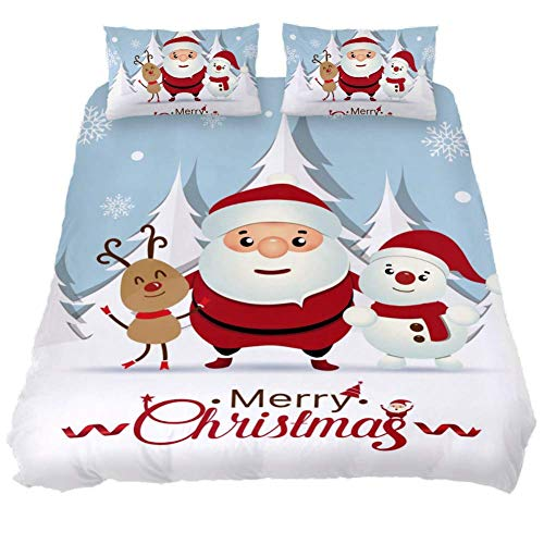 MaoLong Quilt Bedding Set Father Christmas Reindeer Snowman 3 Piece Full Comforter Bed Set Duvet Cover Quilted Coverlets for Boys Girls Women Men ()