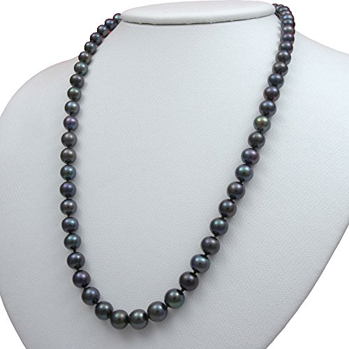 Black Freshwater Cultured Pearl Necklaces 18' AA 6mm Cultured Pearl Pendant Necklace Holiday Gift