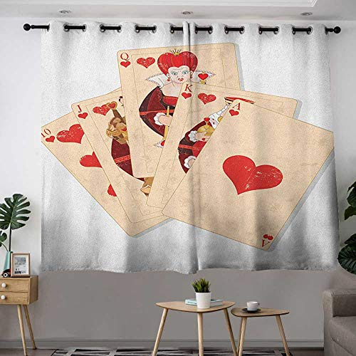 - Zodel Grommet Curtains in Wonderland Crown Gambler Queen Hearts Royal Fairy Flush Face Magic Theme Room Darkening, Noise Reducing W 72