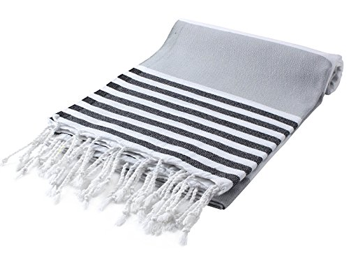 """Cacala Marina Series Peshtemal Turkish Hammam Bath Towels, Traditional Peshtemal Design for Bathrooms, Beach, Sauna, Ultra-Soft, Fast-Drying 37x70"""" 100% Natural Cotton Silver - SUPER PLUSH COTTON - Woven with ecofriendly 100% Turkish premium cotton fibers, these custom towels are extra soft, hypoallergenic, and soft on sensitive skin. FASTER DRYING TIMES - Peshtemal towels are made with lightweight, natural fibers that are not only extremely absorbent, but dry quickly after use. USE THEM EVERYWHERE - The versatility in softness, absorbency and quick drying makes these towels perfect for bathroom, beach, spa, pool or fitness use. - bathroom-linens, bathroom, bath-towels - 51TK C57XcL -"""