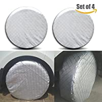 HEALiNK Set of 4 RV Trailer Tire Covers, Waterproof Travel Utility Trailers Truck Motorhome Camper Toyhauler Wheel Covers Tires Protector with Hook, Aluminum Film, Cotton Lining ¡
