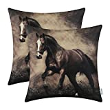 CaliTime Pack of 2 Soft Canvas Throw Pillow Covers Cases for Couch Sofa Home Decor, Vivid Wild Horses Print, 18 X 18 Inches, Brown Horse