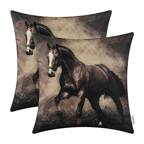 CaliTime Pack of 2 Soft Canvas Throw Pillow Covers Cases for Couch Sofa Home Decoration Vivid Wild Horses Print 18 X 18 inches Brown Horse (Horse Couch Pillows)