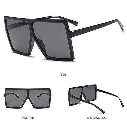 3ce5084fef Amazon.com  Hukai Retro Square Large Frame Sunglasses Men Women Unisex  Eyewear Plastic Outdoor New ( 1)  Home   Kitchen