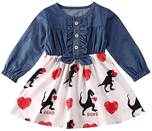 Toddler Kids Baby Girls Love Heart Dinosaur Print Dresses Toddler Love and Heart Holiday Skirt Outfit Set (Kid Baby Girls Valentine's Day Dress, 4-5 T)