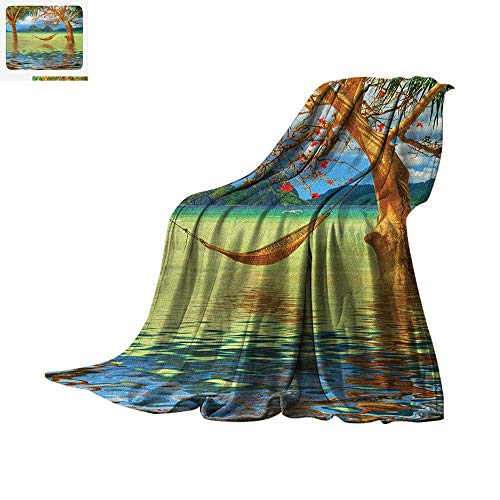Paradise Quilted Hammock - Beach Warm Microfiber All Season Blanket Image of Hammock Hanging Between Trees in The Tropical Lake Paradise Lands Art Work Summer Quilt Comforter 50