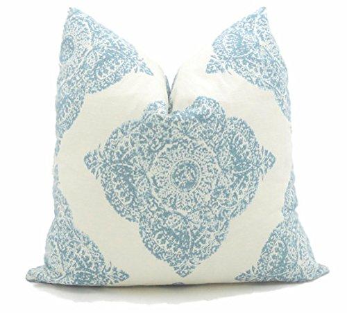 Aqua Block Print Medallion Pillow Cover Made With John Robshaw Fabric