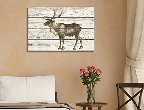 A Stand Along Moose on a Rustic Wooden Background