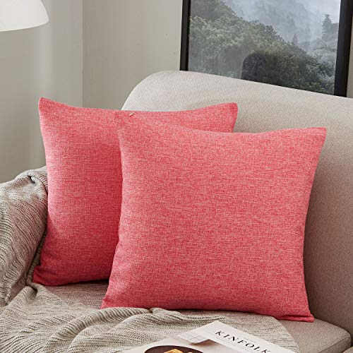 MERNETTE Pack of 2, Cotton Linen Blend Decorative Square Throw Pillow Cover Cushion Covers Pillowcase, Home Decor Decorations for Sofa Couch Bed Chair 20x20 Inch/50x50 cm (Rose Red)