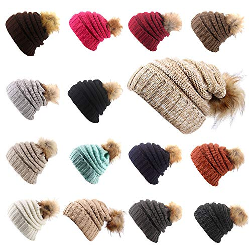 r Solid Cashmere Ski Hats Real Raccoon Fur Pom Pom (M) ()