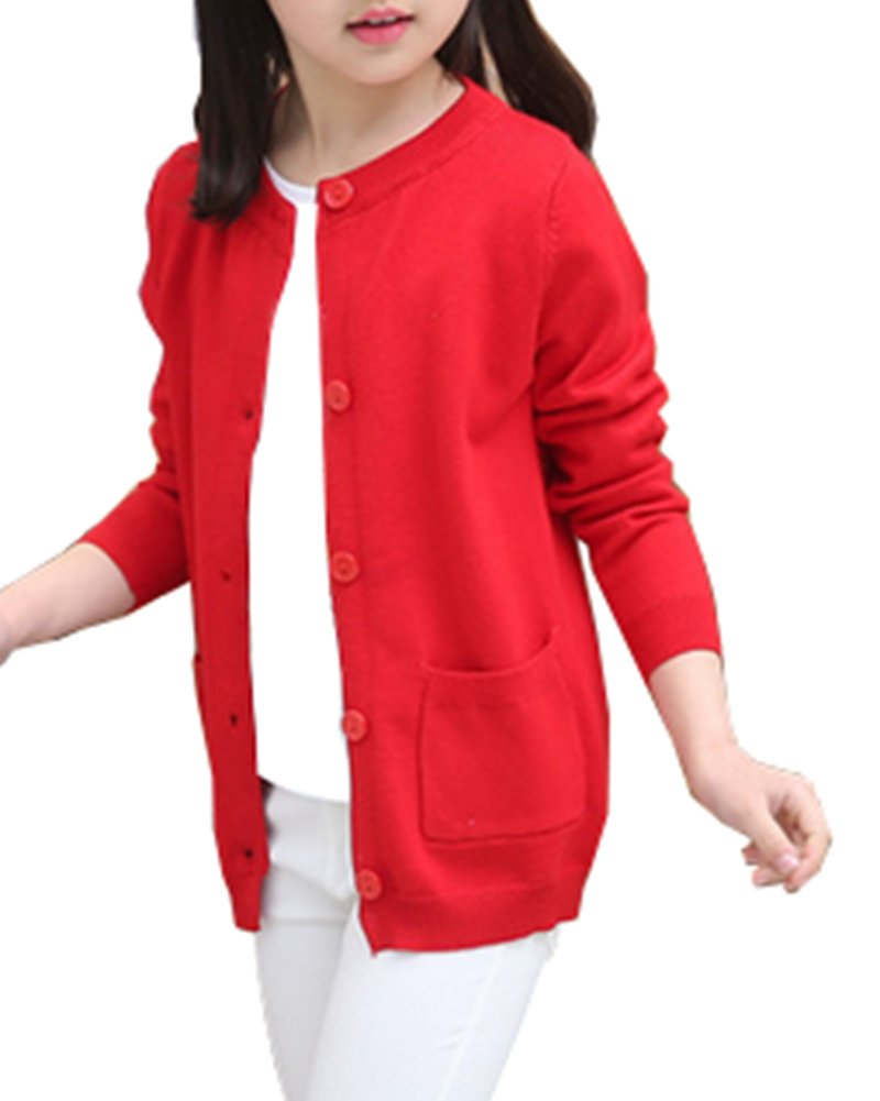 RJXDLT Girls Cardigan Knit Sweaters Long Sleeve Button Cotton Sweater 2-3Y Red