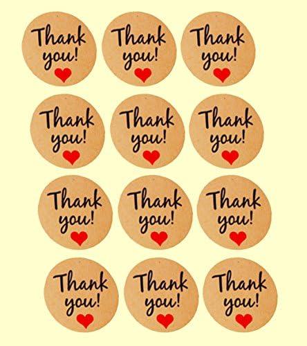Xiaoyu runde-förmige danken Ihnen Aufkleber-Fertigkeitpapier danken Ihnen Aufkleber, Klebeetiketten, dekorative Dichtungsaufkleber, Satz von 10 Blatt (120pcs)