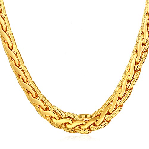 Men Punk Jewelry Copper Based 18K Yellow Gold Plated Chain Necklace 18