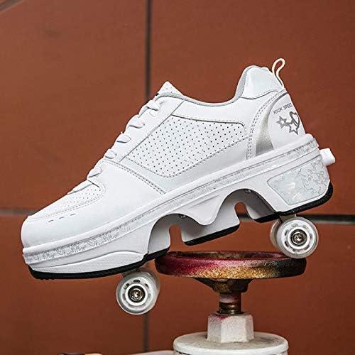 Unisex Enfants Mode Roller Skates Multifonction 2 en 1 Automatiques R/étractables Patins /à roulettes Gar/çons Filles Chaussures DEntra/înement De Sport Plein Air Sneakers,Red-40