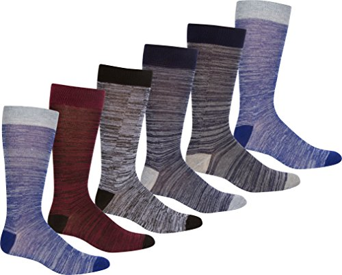 - Sakkas 70501G1 - Men's Crew High Patterned Colorful Design Dress Socks Asst Value 6-Pack - Thin Stripe-2-10-13