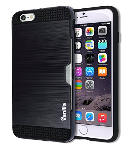 (iPhone 6 / 6S Metallic Card Slot Case Dual Layer Slim Fit Hard PC Back Cover TPU Hybrid Rubber Bumper Rugged Ergonomic Cell Phone Mobile Carrying Wallet Protection Apple iPhone6 iPhone6S (Metal Black))