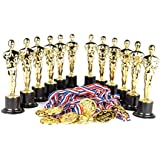"""Award Medal of Honor Trophy Award Set of 24; Includes 12 Gold Winner Award Medals; 12 Gold Award Trophy Statues 6"""" Award Trophies for Award Ceremonies, Party Favors, Goody Bag Stuffers, Party Supplies"""