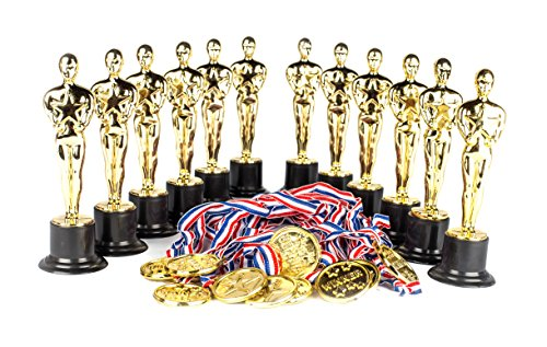 Halloween Trivia For Kids (Award Medal of Honor Trophy Award Set of 24; Includes 12 Gold Winner Award Medals; 12 Gold Award Trophy Statues 6