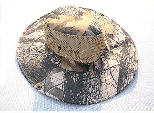 RedBee Breiter Krempe Sommerh/üte Boonie H/üte UV-Schutz Outdoor-H/üte Tarnung Winddichte H/üte Verstellbarer Kinnriemen und atmungsaktive Mesh-Krone zum Angeln Jagd Camping