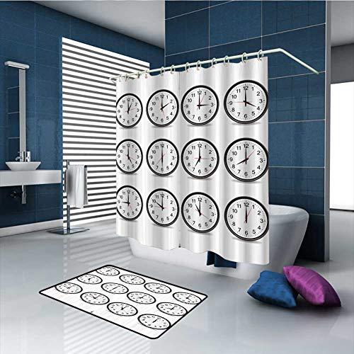 PINGYEHOME 14 Piece Shower Curtain Set, Bath Mat Set Contour Mat Clocks and Black Numbers Print with 12 Hooks, Shower Curtain/70 x L70 & Rug/31.5