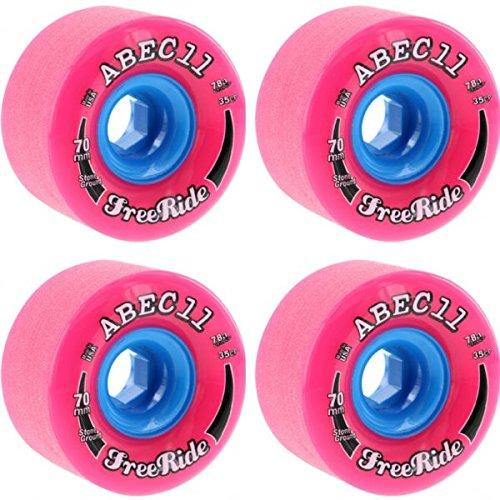 難民偽物愛国的なAbec 11石Ground Freeridesピンク/ブルースケートボードホイール – 70 mm 78 a ( Set of 4 )