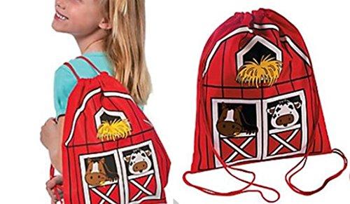 Animal Party barnyard drawstring backpacks