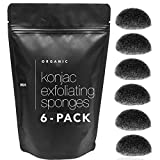 Minamul Konjac Exfoliating Organic Facial Sponge   Gentle daily face scrub/skincare   infused with best bamboo activated charcoal   Safe for Oily, Dry, Combination or Sensitive skin   6 pack set