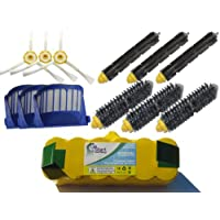Replacement iRobot Roomba 595 Pet Series Battery, Filters, Bristle Brushes, Flexible Beater Brushes and 3-Arm Side Brushes - Kit Includes 1 Battery, 3 AeroVac Filters, 3 Bristle Brushes, 3 Flexible Beater Brushes and 3 3-Arm Side Brushes