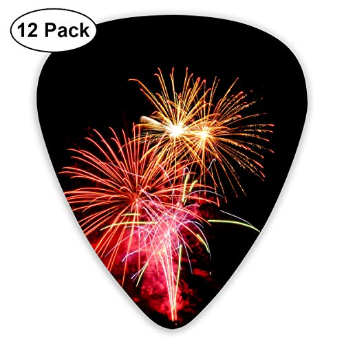 Christmas Festival Firework Fireworks Flame Lights Year Bendy Ultra Thin 0.46 Med 0.73 Thick 0.96mm 4 Pieces Each Base Prime Plastic Jazz Mandolin Bass Ukelele Guitar Pick Plectrum Display (Best Music For Fireworks Display)