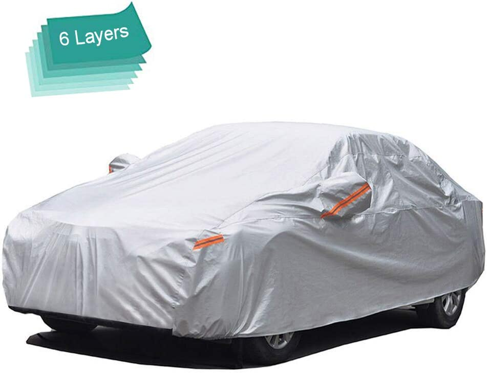 GUNHYI Outdoor Car Covers for Automobiles Waterproof All Weather, 6 Layer Heavy Duty Cover Sun Uv Protection, Universal Fit Sedan (Length 192-208 inch)