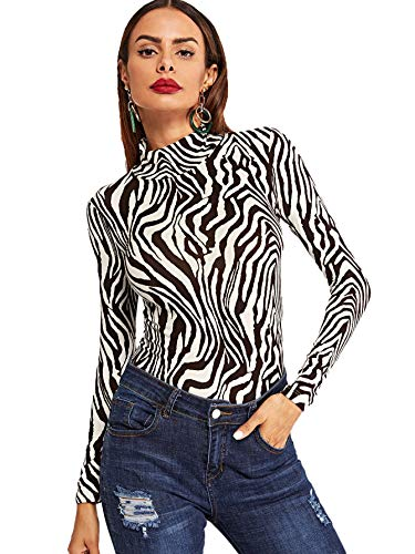 Milumia Women's High Neck Zebra Print Pullovers Long Sleeve Top Multicolor Large ()