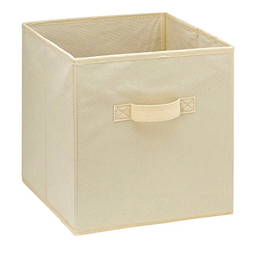 (Uworld Single Handle Nonwoven Storage Bins,Foldable Cube Organizers Basket Without Cover (Cream))