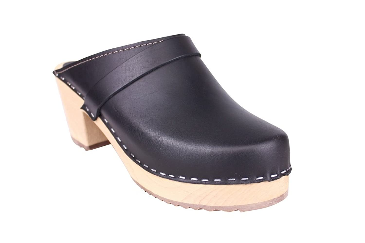 Lotta From Stockholm Swedish Clogs : High Heeled Clog in Black Leather
