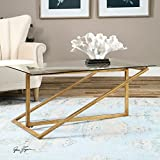 iron and glass coffee table - Geometric Minimalist Gold Iron Glass Coffee Table | Modern Contemporary